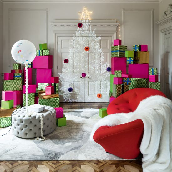 The  ideal home blog  shows you how to create Christmas focus without Foliage.