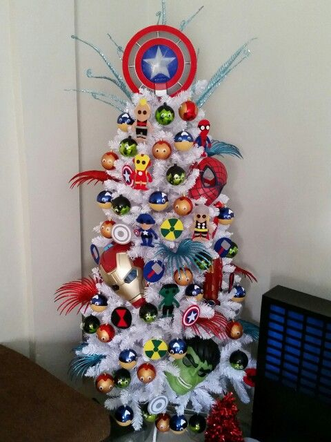 This Avengers themed tree is such a creative way to make christmas special for all the little folk… or for the Marvel enthusiasts of course.