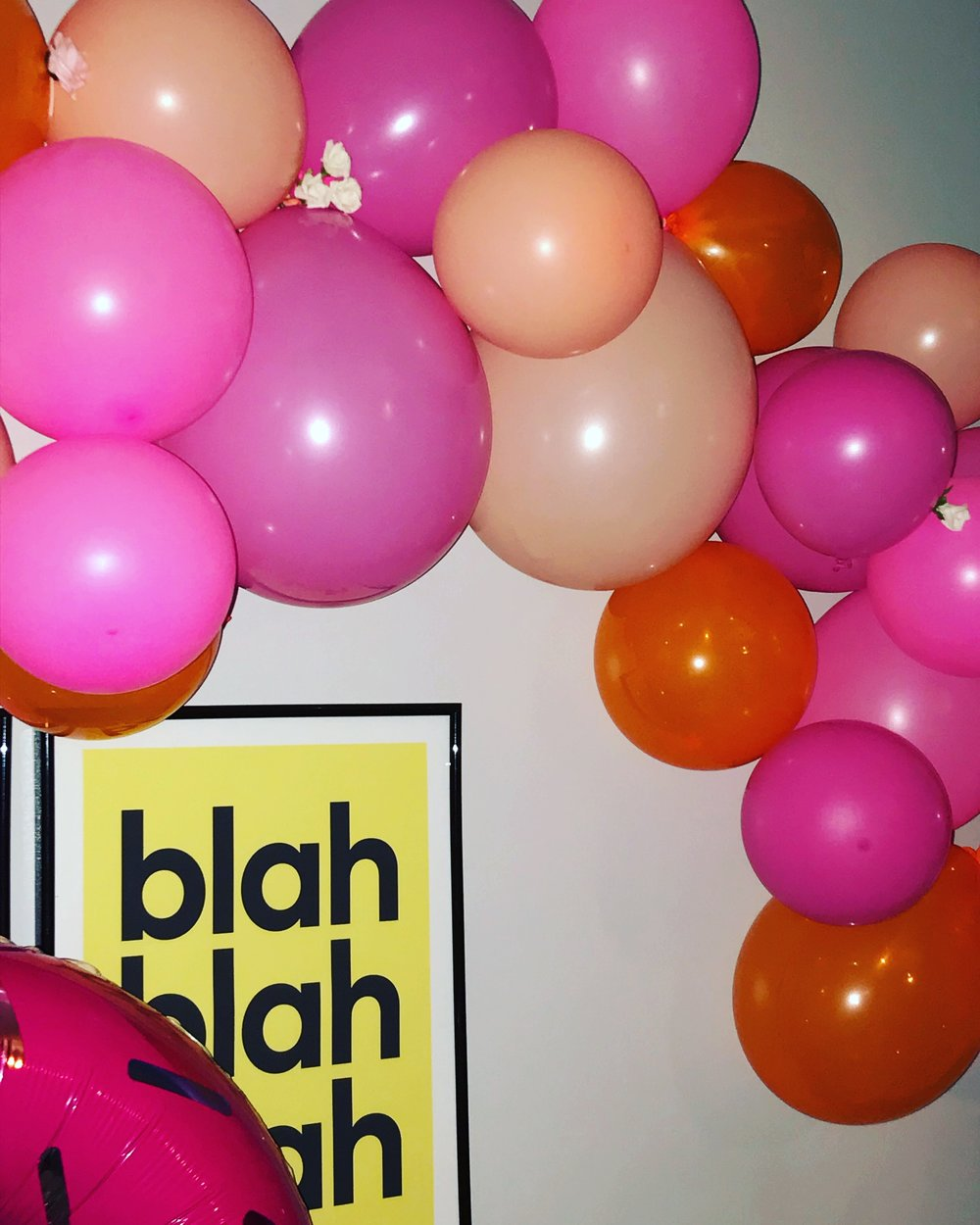 Corner of my colourful balloon arch!
