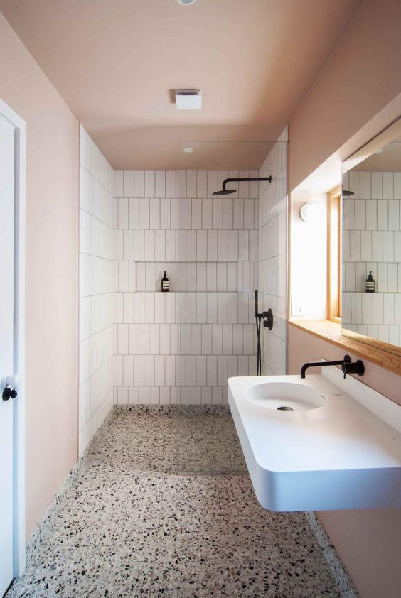 I've taken my floor inspiration from Bradley VanDerStraeten's bathroom design in a  Leytonstone House  led by Claire Holton.