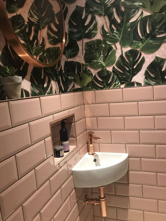How beauts is this pink leaf print wallpaper by  Woodchip and Magnolia . This image was one of the major determining factors of my final colour palette for the bathroom. It also reinforced how great gold accents are in bringing the glam element into the bathroom.