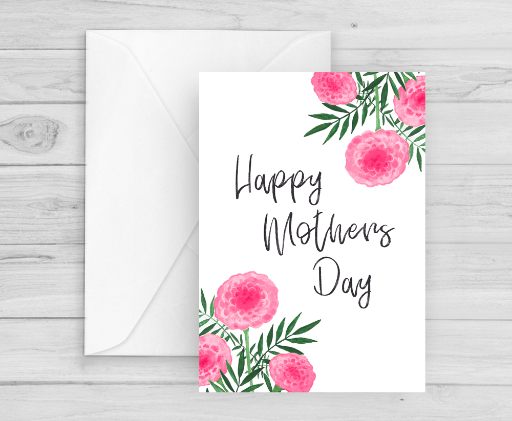 One of my personal favourite card designs from Helen is the Fresh Pink Flowers Mothers Day Card.  £2.50