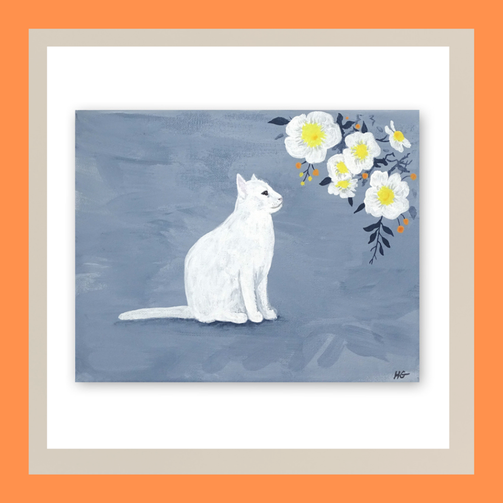 'Delicate Daydreams' Cat Art Print  From £8.00