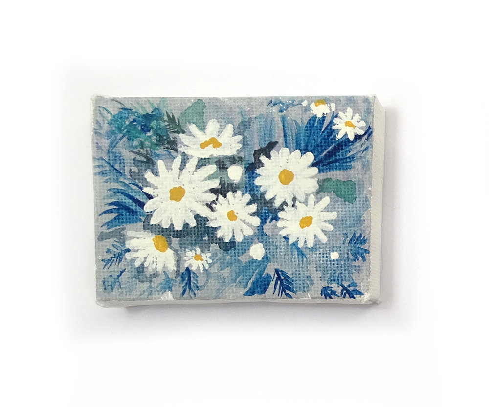 """'DAISES' ORIGINAL MINI CANVAS PAINTING - """"I love how daises turned out on the mini canvas, in the near future I plan to create another similar daisy painting but on a much larger canvas.""""£18.00"""