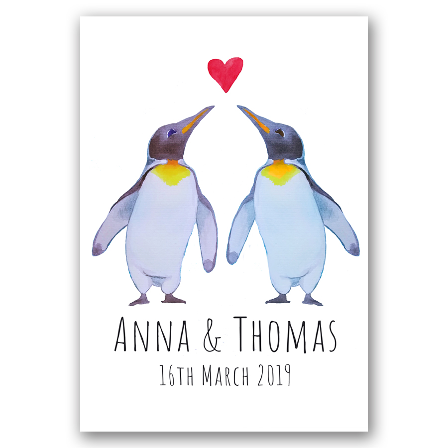 Personalised Penguin Couple Art Print - A beautiful personalised watercolour penguins illustration art print featuring the couples names, place of marriage and/or the special day & date, making the perfect wedding gift or keepsake for your home! From £18.00