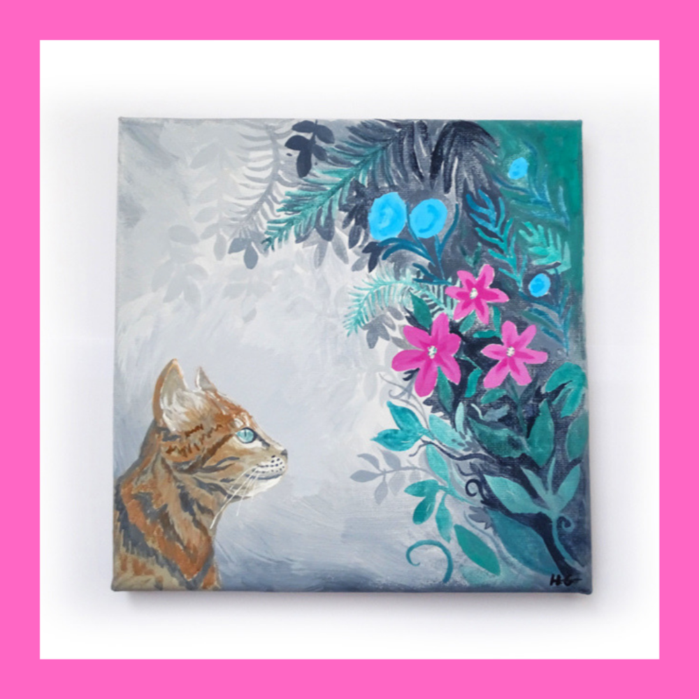 'Exploration' Cat Art Print - Art print of 'Exploration' original acrylic painting, part of the Floral Adventures art series. Ideal as home decor or as a gift for friends or family. From £9.00