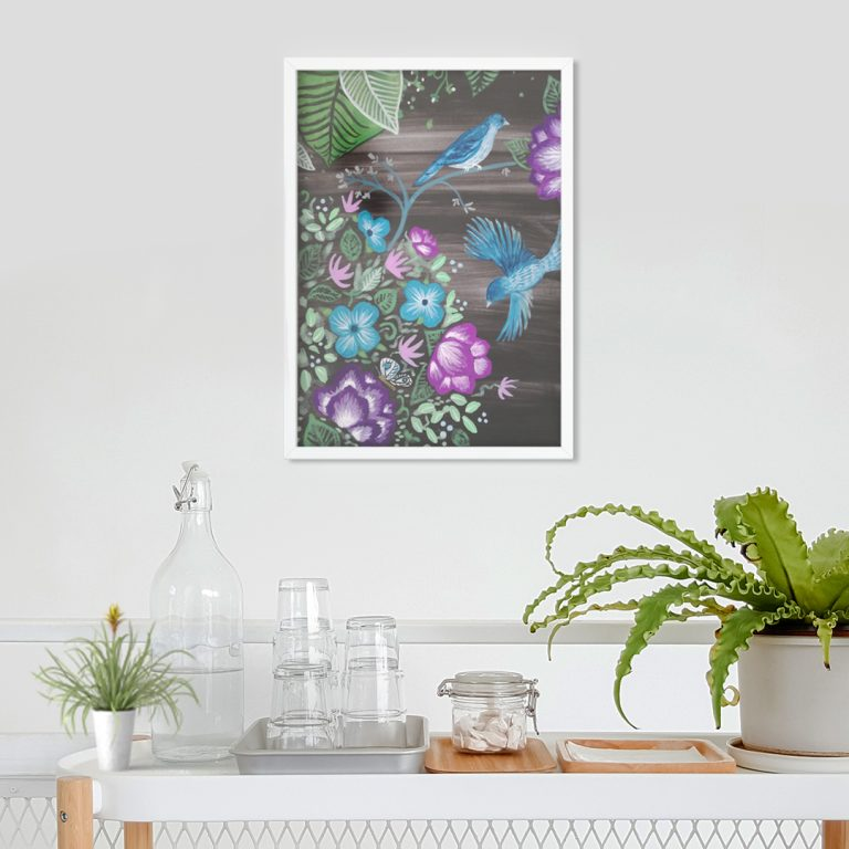 'Birdfolk Gardens' Botanical Art Print - Vibrant and beautiful, bringing positive energy to your living space.From £8.00