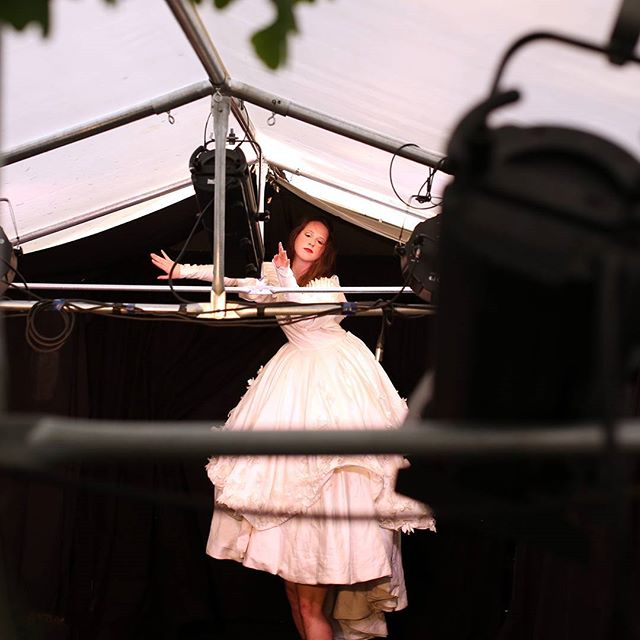 Flying moment of Carabet #cabaret #brightonfringe #weddingdress #show Photo by Bahbak Hashemi-Nezhad