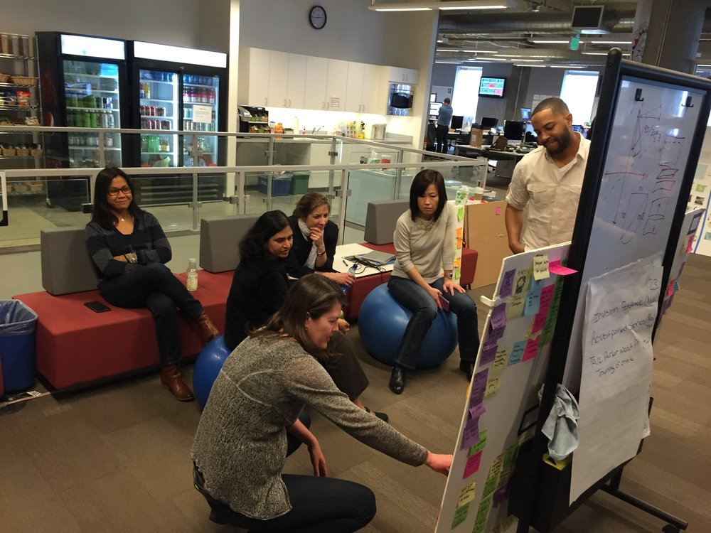 AAA designers showing their manager our user research, insights and action plan