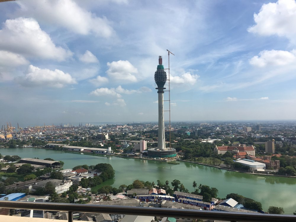 View from the balcony - a new landmark for Colombo under construction