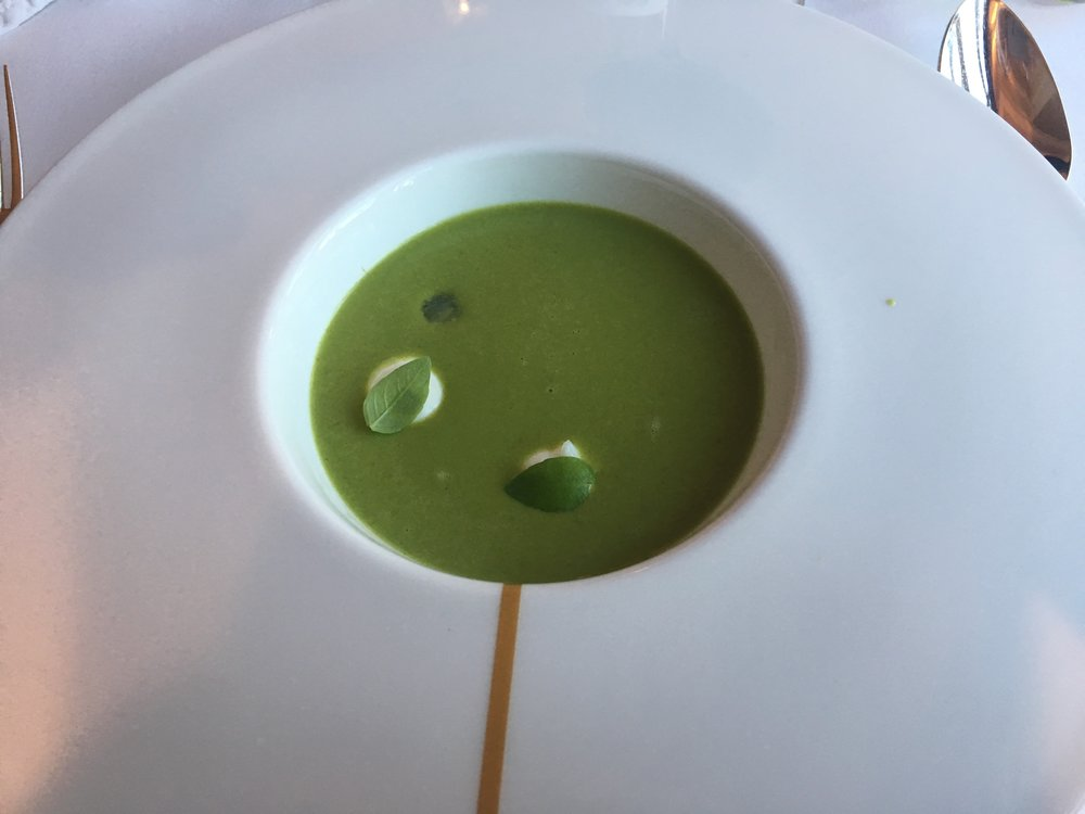 I loved this: as they poured the soup, it was like summertime where all the leaves were growning on the tree!