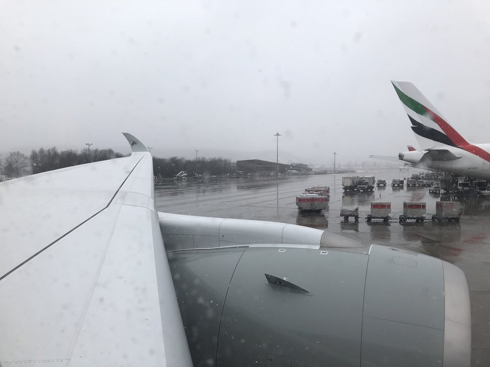"""The two main """"desert airlines"""" in snowy Zurich airport"""