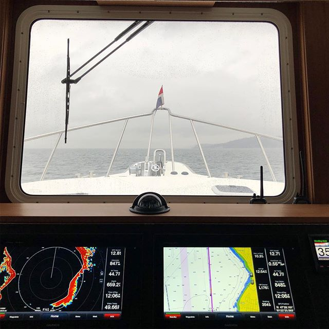 Grey skies on the way to Seattle. Trying to stay ahead of the wind coming in today. #americantug #dungenesscrab #pnwboating #yachting
