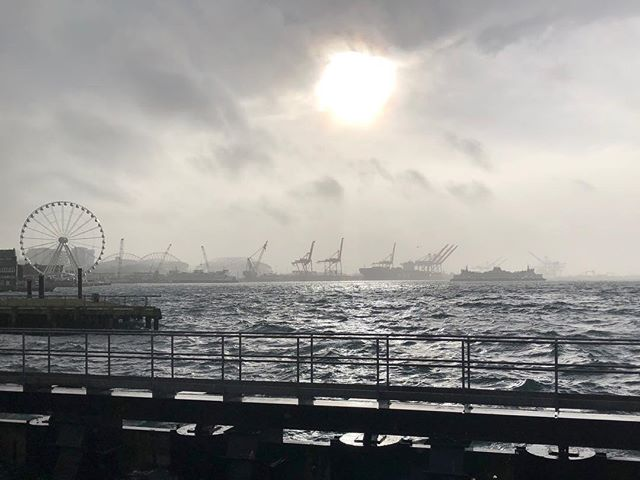 Stormy day docked at Bell Harbor in Seattle. High winds and tide bringing spray over the sea wall on to our docked boat.  #boatlife #yachting #seattle #bellharbor