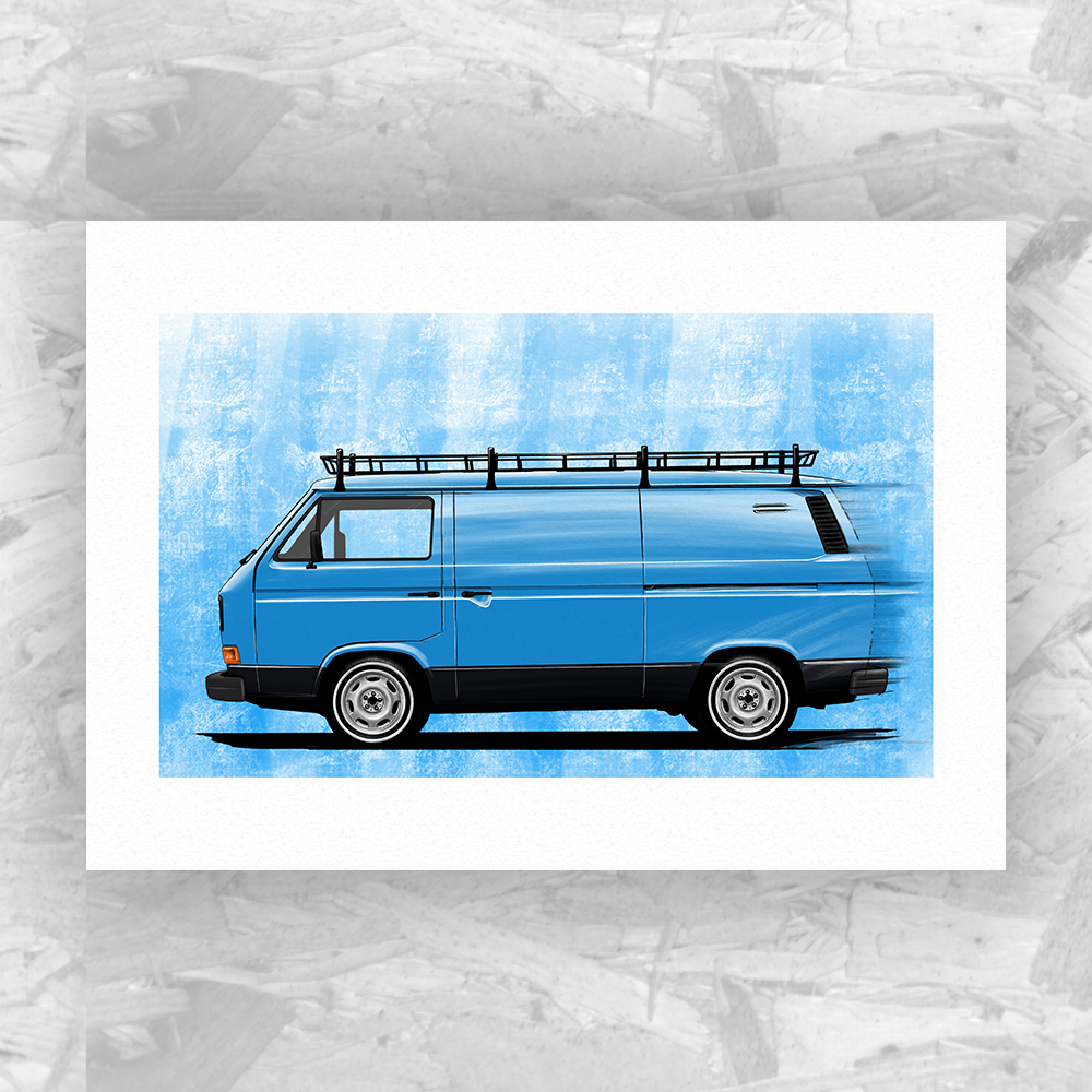 Illustration of a Volkswagen T25 Panel Van customised exactly how I would I like to have one!