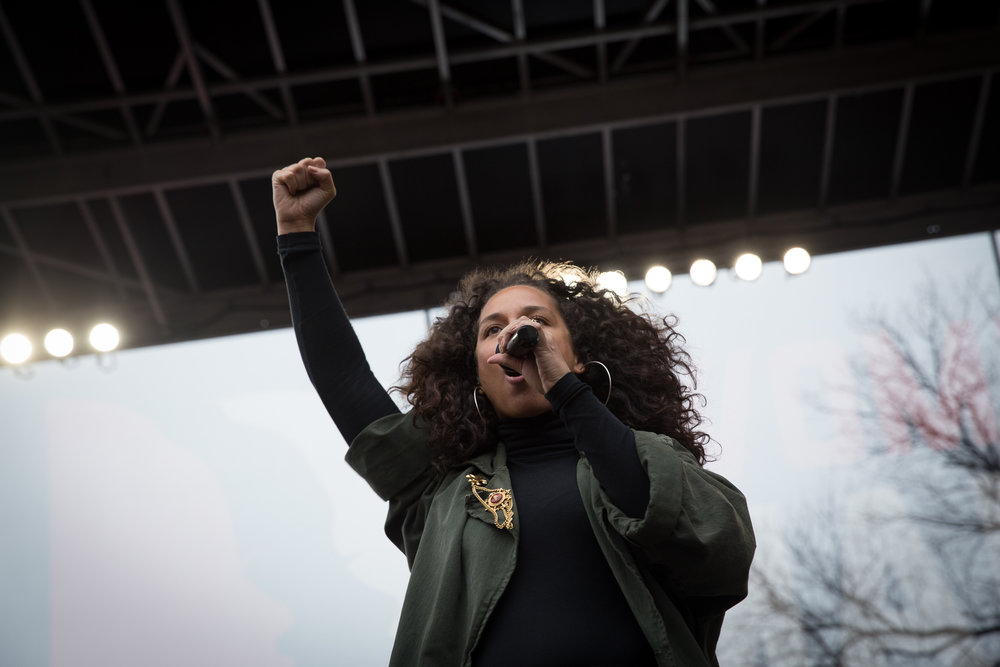 Alicia Keys on stage at the Women's March on Washington, Jan. 21, 2017. Photo Credit: Alex Arbuckle