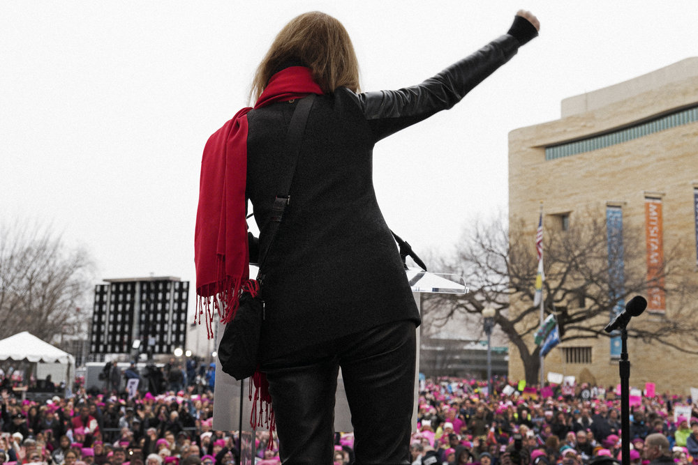 Gloria Steinem on stage at the Women's March on Washington, Jan. 21, 2017. Photo Credit: Cass Bird