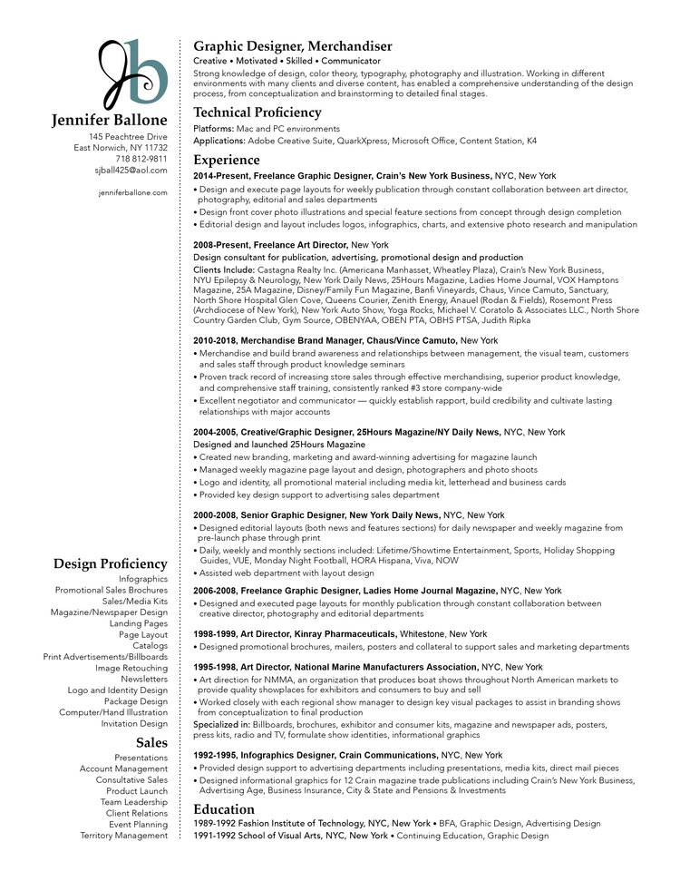 Resume — Jennifer Ballone