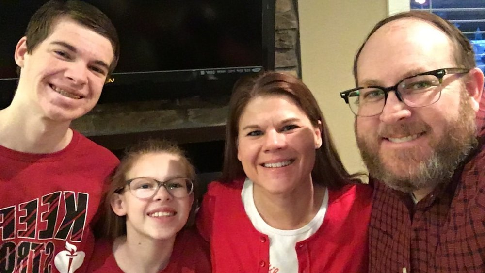 The biggest supporters of all....The Murphy family sporting Red on 2-3-17 for Go Red for Women Day.. a cause that is near and dear to my heart!