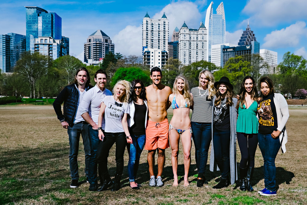 And, finally, here's a little behind the scenes shot of our whole cast & crew on location while shooting Aaron Murray and Katherine Mason at iconic Piedmont Park in Atlanta.
