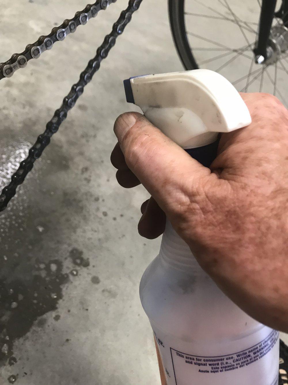 Spray the chain