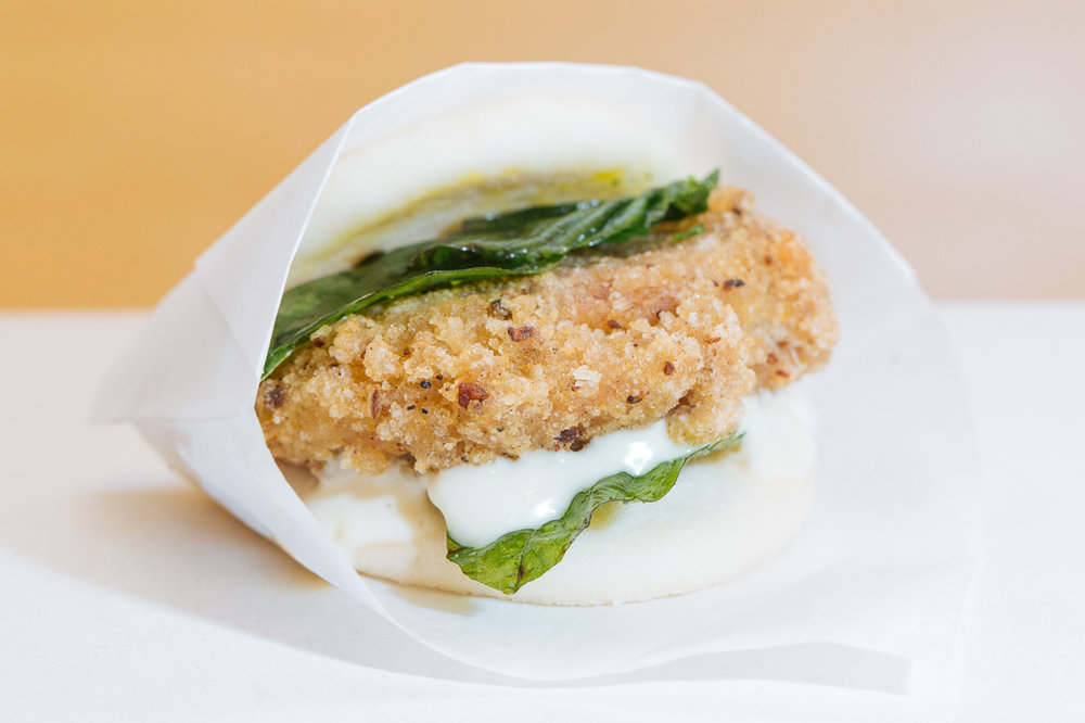 Taiwanese Fried Chicken Gwa Bao w lemon aioli and Thai basil
