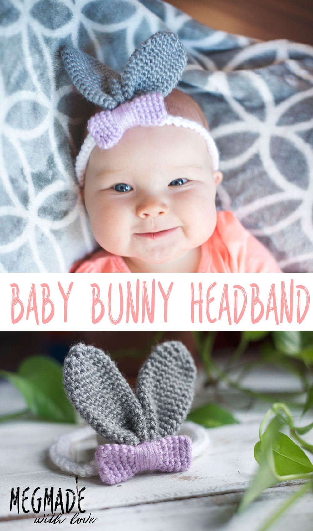 Baby Bunny Ears Headband Crochet Pattern — Megmade with Love