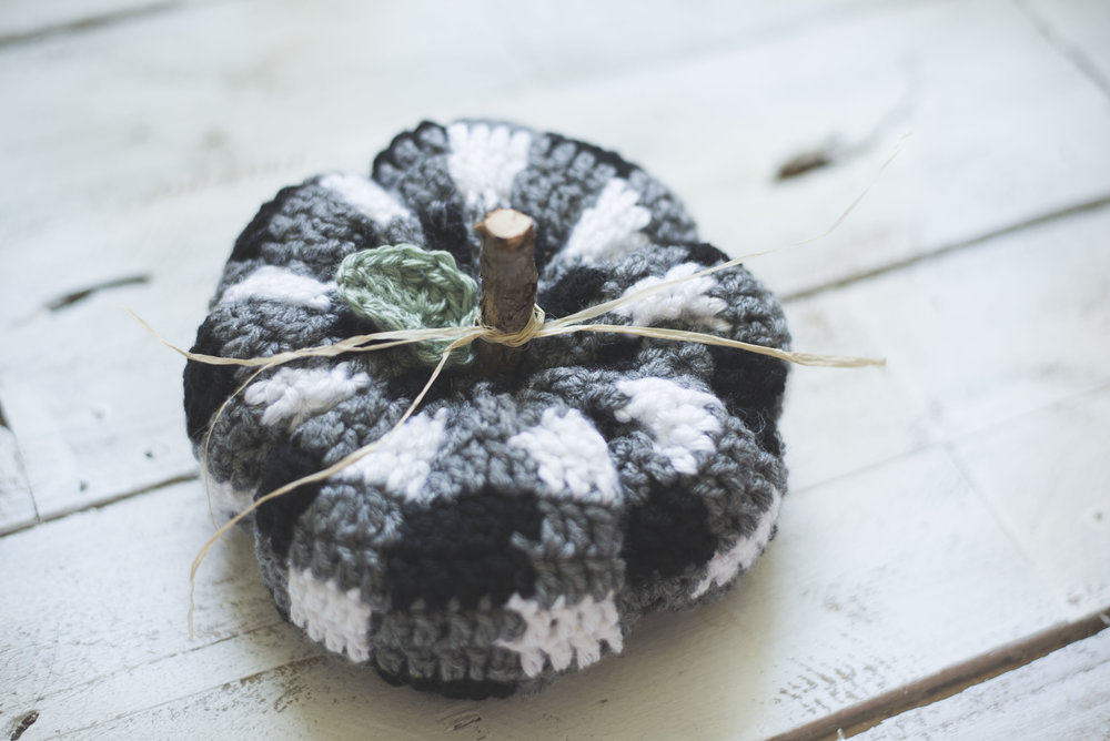 Free Crochet Pattern For The Cutest Plaid Pumpkin Megmade With Love