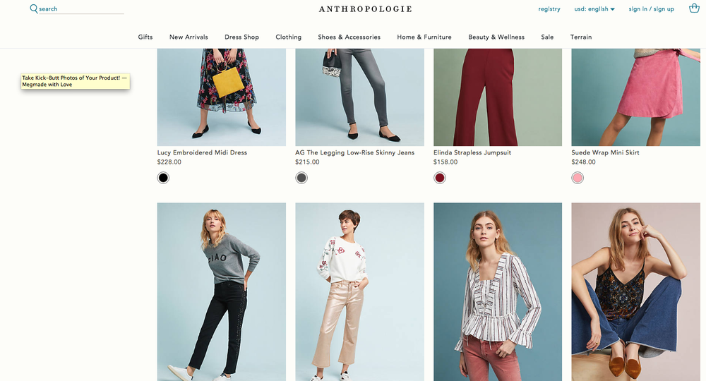 Antrhopologie has a great cohesive look-- bright and airy pics with simple muted-color backgrounds.