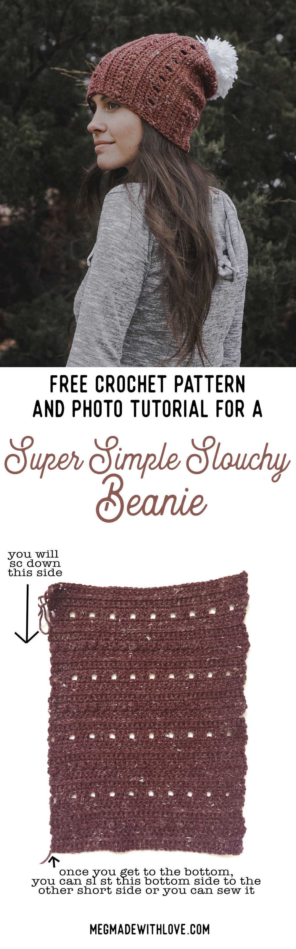 Free Crochet Pattern for a Super Simple   Slouchy Beanie — Megmade ... 6bd9551dada