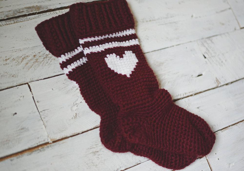 Free Crochet Pattern For The Varsity Love Socks An Etsy Pattern