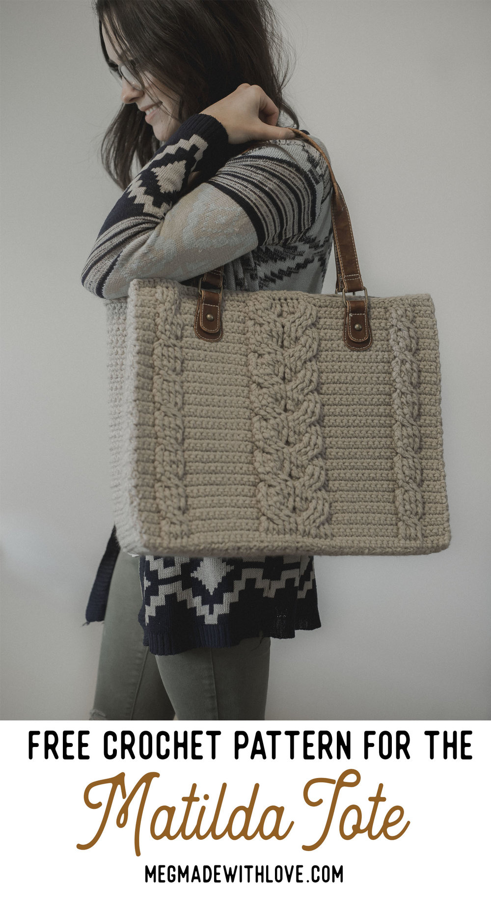 Free Crochet Pattern for the Matilda Tote - Cabled Purse - Megmade with Love