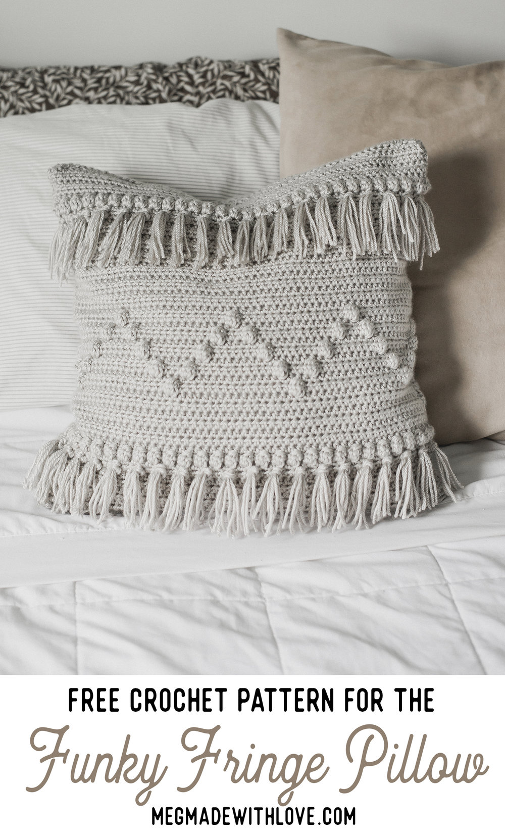 Free Crochet Pattern for Crochet Fringe Pillow - Megmade with Love