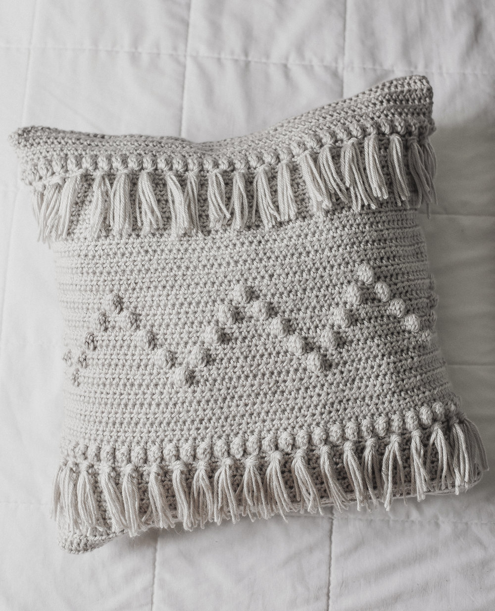 Free Crochet Pattern for Fringe Crochet Pillow - Megmade with Love