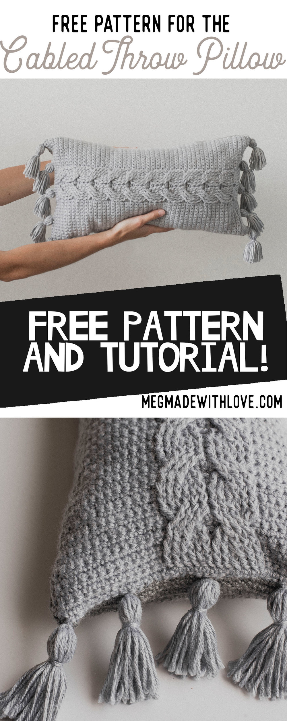 Free Crochet Pattern for Cable Crochet Pillow - Megmade with Love