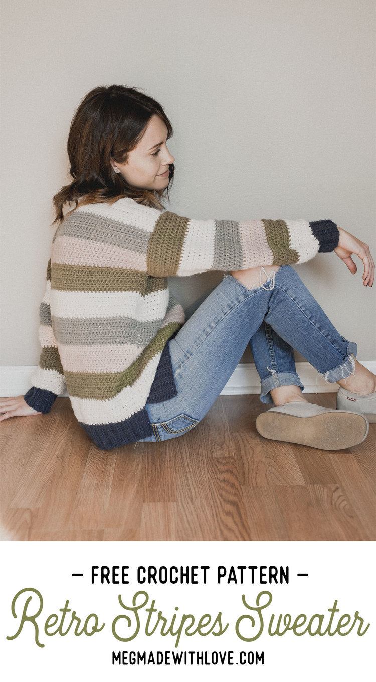 Free Crochet Pattern Retro Stripes Sweater Megmade With Love