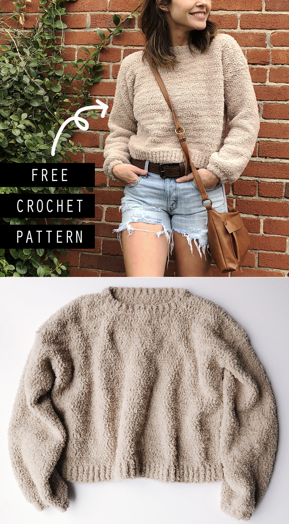 Cropped Crochet Sweater Free Pattern - Megmade with Love