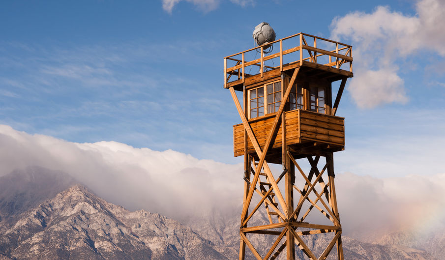 A guard tower stands at the Manzanar National Historic Site