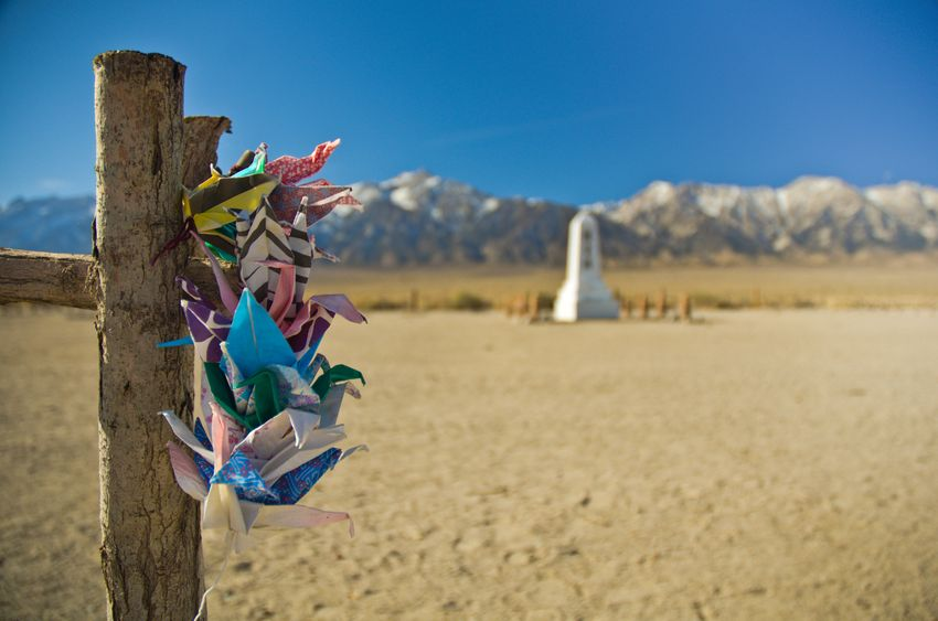 Colorful cranes are displayed at the Manzanar National Historic Site