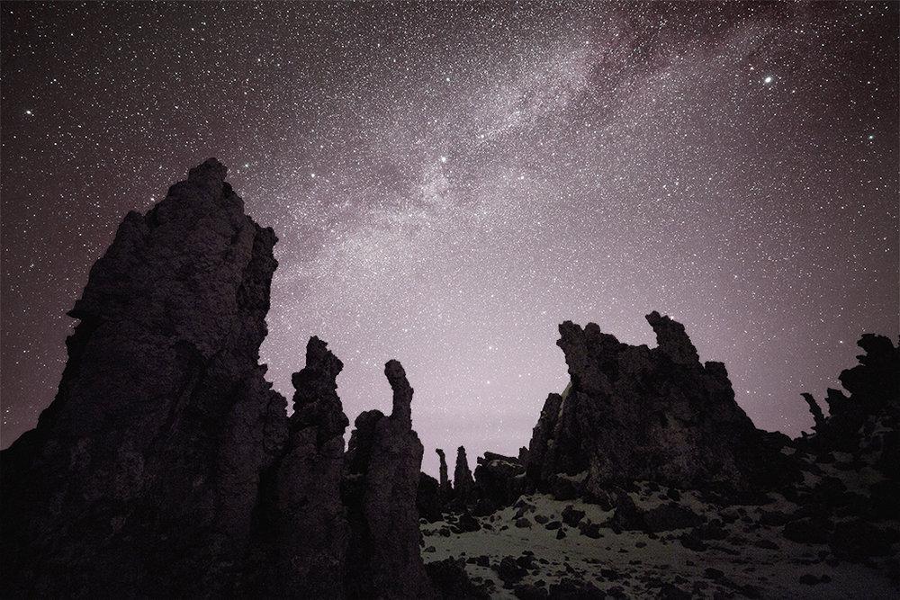 Tufa in the night at Mono Lake