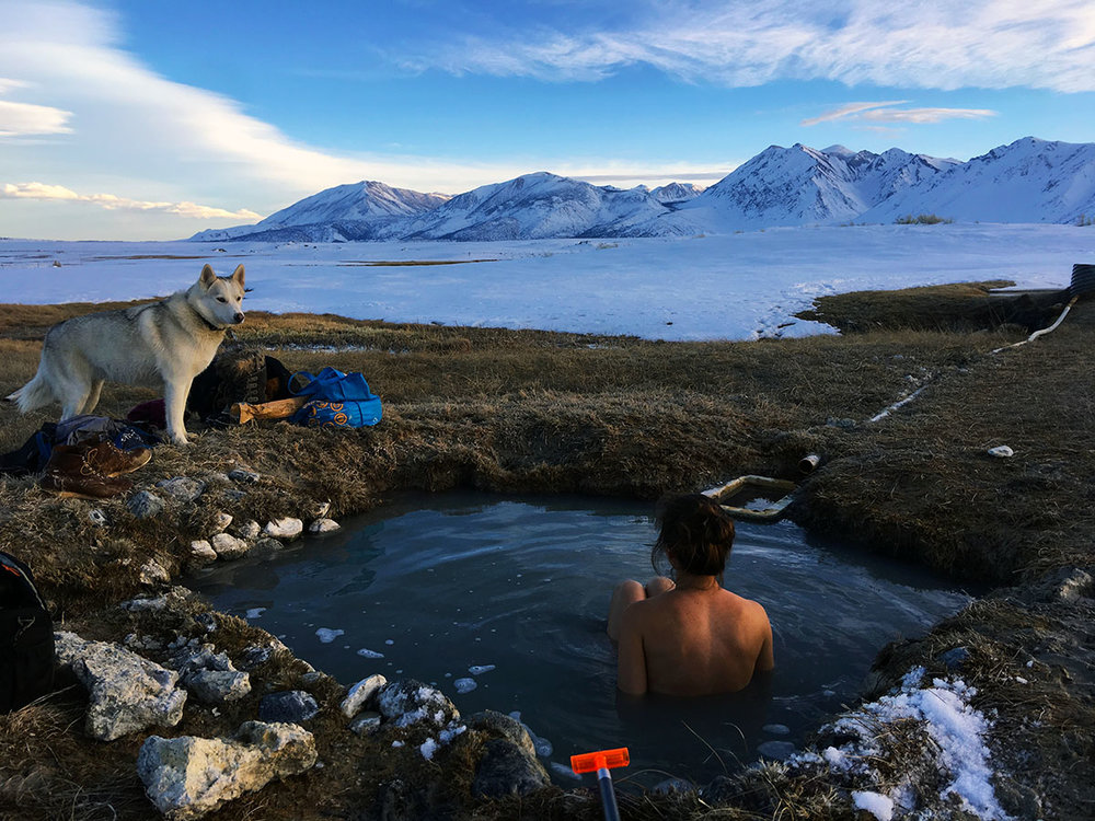Soaking in the view near Wild Willys Hot Spring (Photo by  Samuel Kahn )