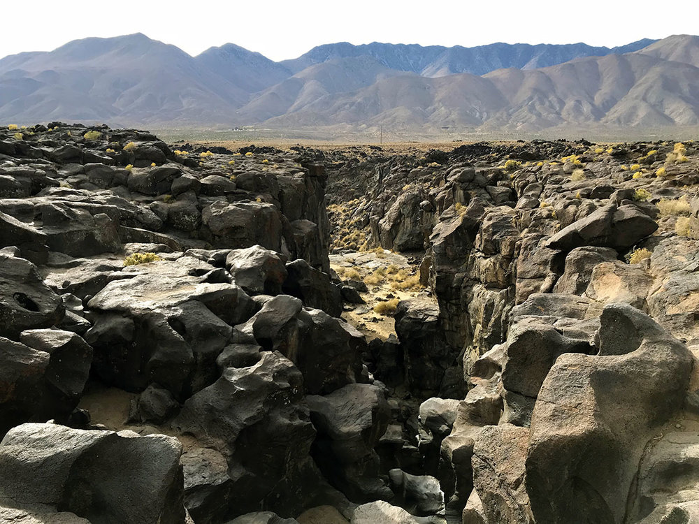 Fossil Falls features the remnants of flowing lava