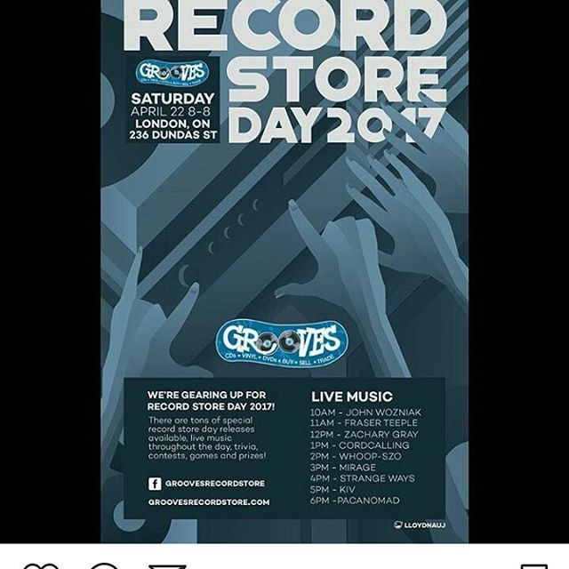 Playing Saturday at Grooves 11am. These folks have always been such a great support for local musicians...I'm thrilled to be celebrating record store day with them! #Repost @groovesrecords