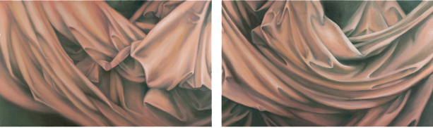 "Drapery: Interior Landscape  36"" x 93"" oil/canvas diptych 2013"