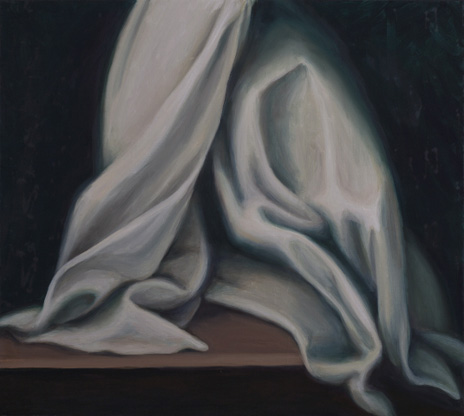 "Roman Drapery (detail from painting at Santa Maria sopra Minerva) 26"" x 29"" oil/linen 2013"