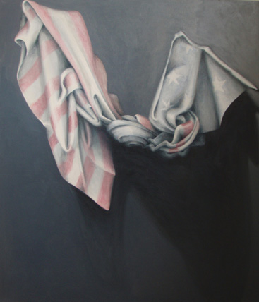 "Knotted Drapery: Patriotism  40"" x 46"" oil/canvas 2010"