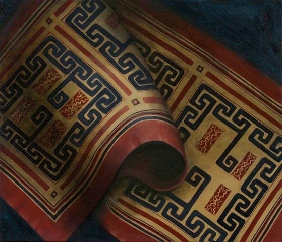 "Hmong Textile II  24"" x 28"" oil/canvas  2015"