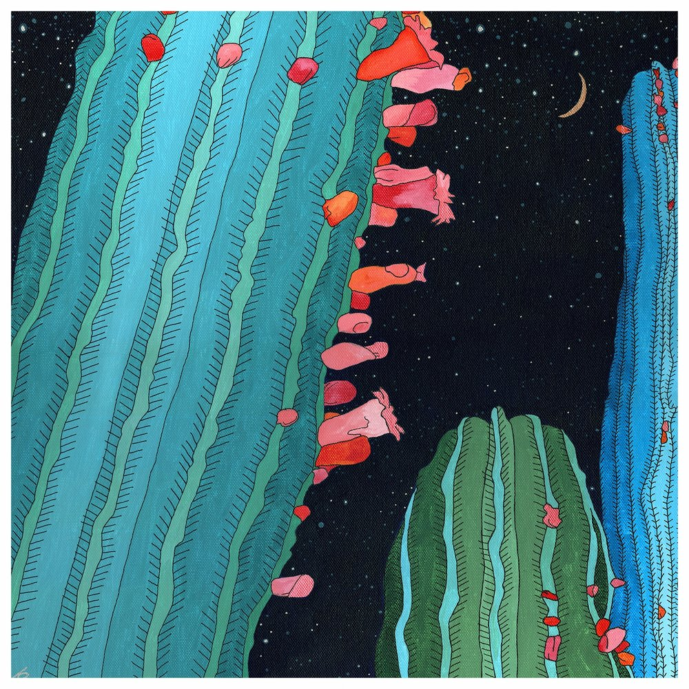 Midnight Cactus Conversations/Acrylic Ink