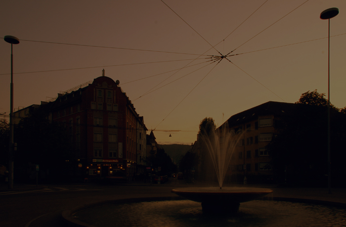 Cable Spider Above Fountain