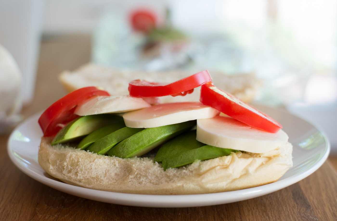 Tomato Mozzarella Avocado Sandwich